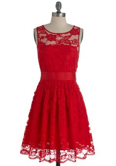 When the Night Comes Dress in Red by BB Dakota - Red, Lace, Party, A-line, Sleeveless, Floral, Mid-length, Exclusives, Formal, Wedding