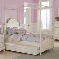 Cinderella Dream White Ecru Painted Girls Twin Canopy Bed Trundle
