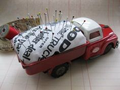 sew, idea, craft, old trucks, toy truck, pincushions, vintage toys, pin cushion, kids toys