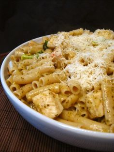 penne with chicken and pesto.