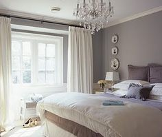 Grey walls with white curtains
