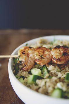 spicy grilled shrimp with cucumber cilantro rice