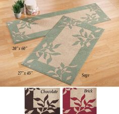 "Amazon.com - Decorative Leaf Accent Rugs Chocolate 27"" X 45"" - Area Rugs"