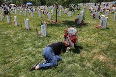 Memorial Day 2012....Karen Clarkson at the Grave of her Son; Sgt Joel Clarkson, in Arlington Nat'l Cemetery.