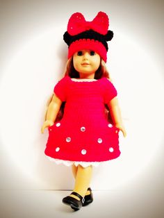 Hand Crocheted Minnie Mouse Inspired Dress and Hat Set for American Girl Dolls