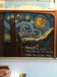 chalkboard drawing for the Astronomy block