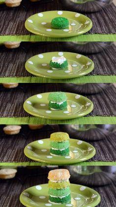 St Patrick's Day Ombre Cake layering in progress