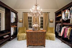 Nothing says glamour like a chandelier! Luxury closet