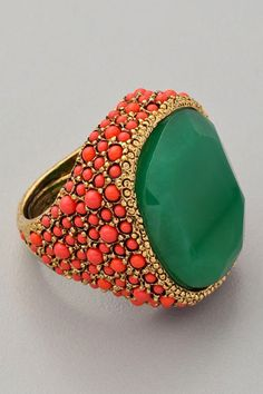 Kenneth Jay Lane Coral and Jade Cocktail Ring $168
