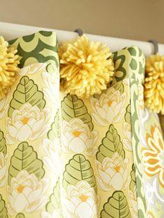 Easy-to-Sew Patchwork Shower Curtain + Pom Pom hooks