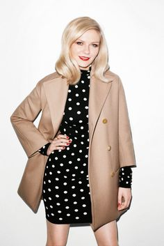 camel, kirsten dunst, polka dots, dress, outfit, hair makeup, red lips, coat, terry richardson