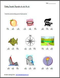 digraphs... circle the word's ending sound