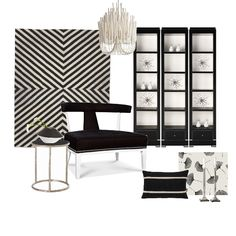 Decor Style: Living Room Transitional Chic in Black and White