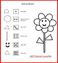 Roll-a-Flower Game- can be a group game. Visual Perceptual. First person to make design wins.