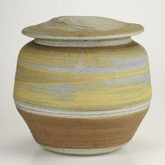 KAREN KARNES; Large glazed stoneware covered vessel, Vermont