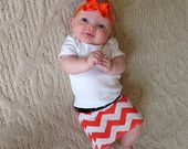 Halloween Pencil Skirt Orange Chevron and Black for Babies, Toddlers and Girls