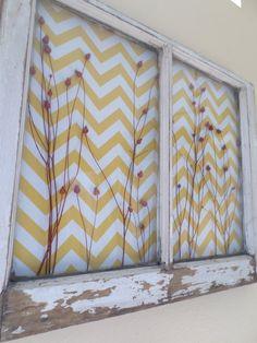 Old Window Decor Reclaimed Yellow Chevron RED by ThreeTwigsDesigns, $276.00 old windows decorating, antique windows, old window craft, rustic window decor, old wooden windows, old window decor, offic, old window wall decor, diy window