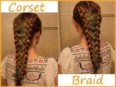 1. Partition your hair into two sections equal sections   2 : Start french braiding from the top.  3 : Go all the way to the end of your hair and secure your braid 4 : Repeat step 2 and 3 with the other section of your hair. 5 : Take a ribbon and start putting it through your braid as you would lace up your boots. 6 : Keep the ribbon loose from the top and tighten it as you go down until both your braids meet at the ends. 7 : Tie a bow at the end or secure it inside your elastic band.