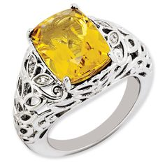 6.5 ct Sterling Silver Citrine and Diamond Ring for $179.97