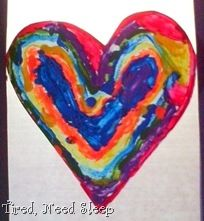 painting shapes with melted crayons.  My daughter loves hearts.