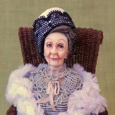 Mrs MAGGIE SMITH ooak Edwardian Dowager lady 1:12 doll by Soraya Merino
