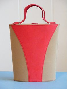 1950's Vintage Suede Box Purse in Bright Coral and Tan