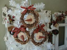 grapevine wreath ornaments wooden