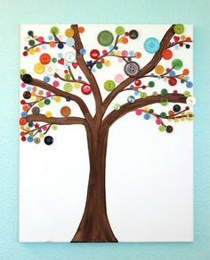 """Use various buttons from your family to make a unique """"family tree"""" for a scrapbook or frame it for a gift."""