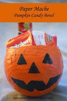 Paper Mache Pumpkin Candy Bowls