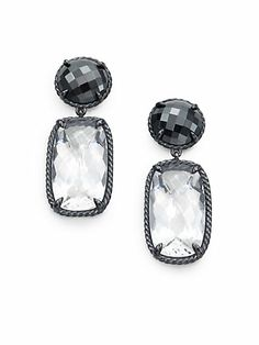David Yurman - White Topaz, Black Orchid & Blackened Sterling Silver Drop Earrings - Saks.com