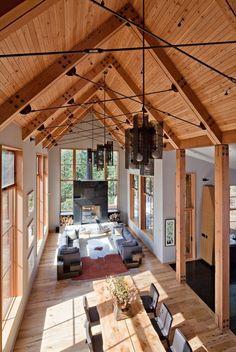 lake houses, interior, living rooms, modern rustic, high ceilings, taho ridg, homes, vaulted ceilings, design