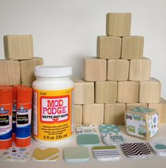 DIY Wood Baby Blocks // Baby Shower Craft