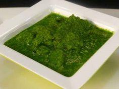 Coriander Chutney (Hari Dhaniya Chutney) recipe via Show me the Curry.  Printable recipe at http://showmethecurry.com/2009/05/21/coriander-dhaniya-chutney/