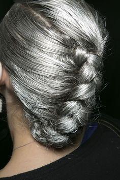 silver french braids, gray hair, girl hair, fashion shoes, hair colors, silver hair, hairstyl, going gray, hair trends
