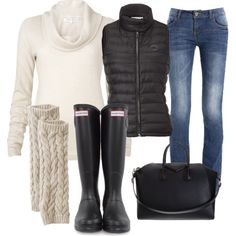 cold weather kids sports watching outfit! rain boots are a must for those late fall soccer games