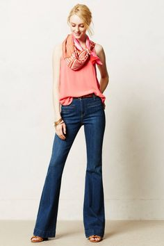 Love the pink top and scarf with Anthropologie Pilcro Superscript High-Rise Flare Jeans