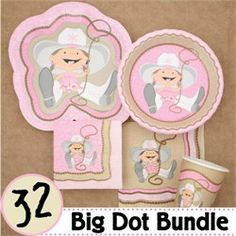 This is a great baby shower party pack with everything you need for your cowgirl baby shower party.  It includes all the tableware for  your western baby shower.  Visit us at http://www.modern-baby-shower-ideas.com/western-baby-shower.html Use coupon code: Modern11 and save 11%