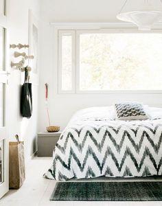 bedding, wall hooks, beds, black white, bedroom design, bedrooms, knobs, chevron, west elm