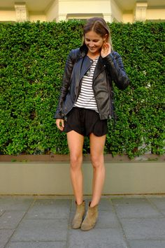 leather biker jacket + breton shirt (lucy williams)