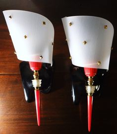 Vintage PAIR of Mid Century Modern Wall Lamps by Decofanatique, $75.00