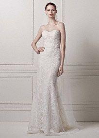Strapless Lace Sheath Gown with Pearl Beading, Style CWG641 #davidsbridal #olegcassini #weddingdress