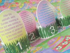 Meaningful Easter dinner idea: Each place setting has a printable napkin ring with a piece of the resurrection story on it. Everyone reads their part before saying dinner prayers. Free to print these! easter dinner, napkin rings, decorating ideas, easter crafts, napkin holders, dinner ideas, easter bunny, kid, easter ideas
