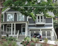 Gray house with white trim.