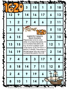 Thanksgiving Math Games First Grade by Games 4 Learning for bringing some fun, Thanksgiving math into the classroom. 14 Printable math games for first grade. $