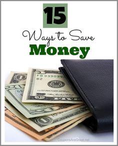 15 ways to save money #money #savings