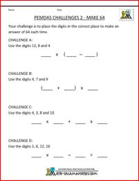 PEMDAS Challenges 2 - a great sheet for challenging more able students with the PEMDAS rule.