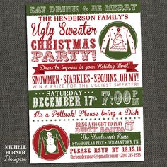 Ugly Sweater Christmas Party Invitation - Tacky Sweater -  Printable or Printed for you on Etsy, $17.00
