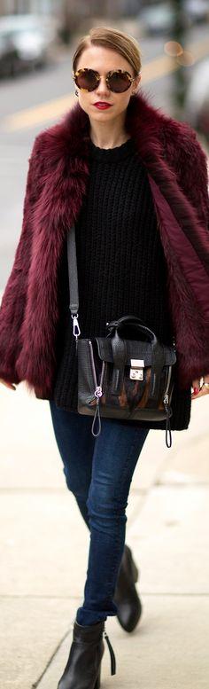 fur and phillip lim 3.1 #streetstyle #fur #fashion #burgundy fashion outfits, street style, bag, fur, coat