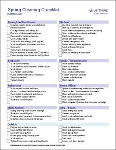Spring Cleaning Checklist - This site has all kinds of free printable checklists, calendars, etc.
