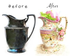 Coffee break altered piece- Prima - Scrapbook.com - Use Prima supplies to DIY turn a vase or pitcher into a masterpiece.